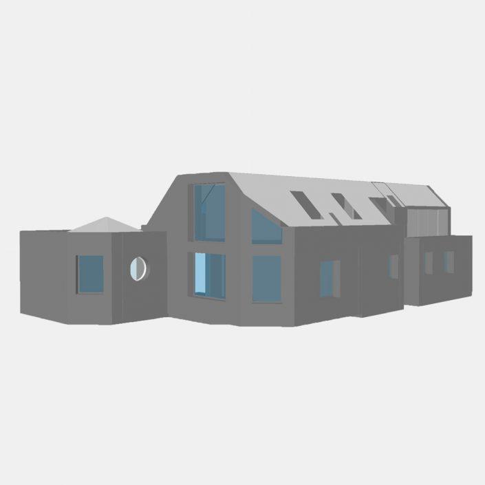 Maquette numérique (BIM IFC) d'une maison réalisée après un relevé 3D
