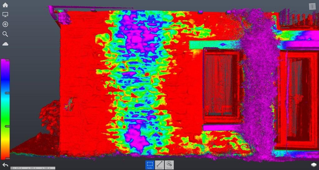 Etude de la planéité des murs d'une ancienne maison grâce à une numérisation 3D