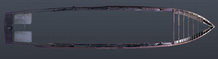 Coupe du bateau Jaman IV, numérisé en 3D en cours de restauration