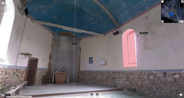 Prises de notes et de cotes sur le nuage de points issus de la numérisation de la chapelle St-Lingast à Langueux (22)