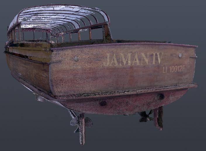 Scan 3D du navire Jaman IV en cours de transformation