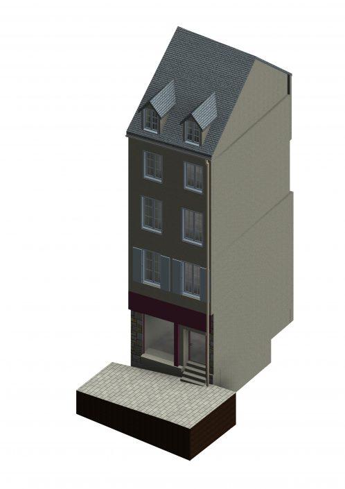 Maquette numérique d'un immeuble effectuée par Katem 3D et scanné par Numeribat