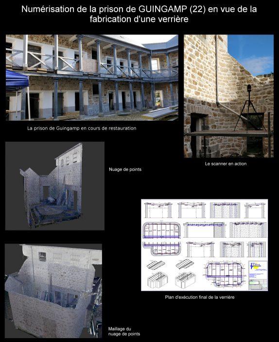 Scan de la prison de Guingamp en vue de la fabrication d'une verrière