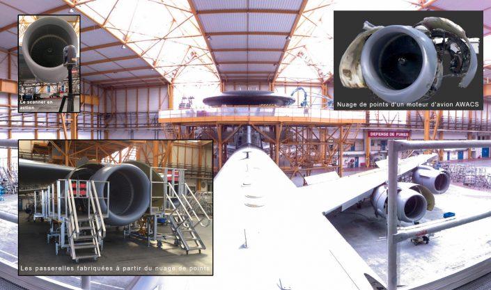 Numérisation d'un avion radar AWACS afin de construire une passerelle de maintenance