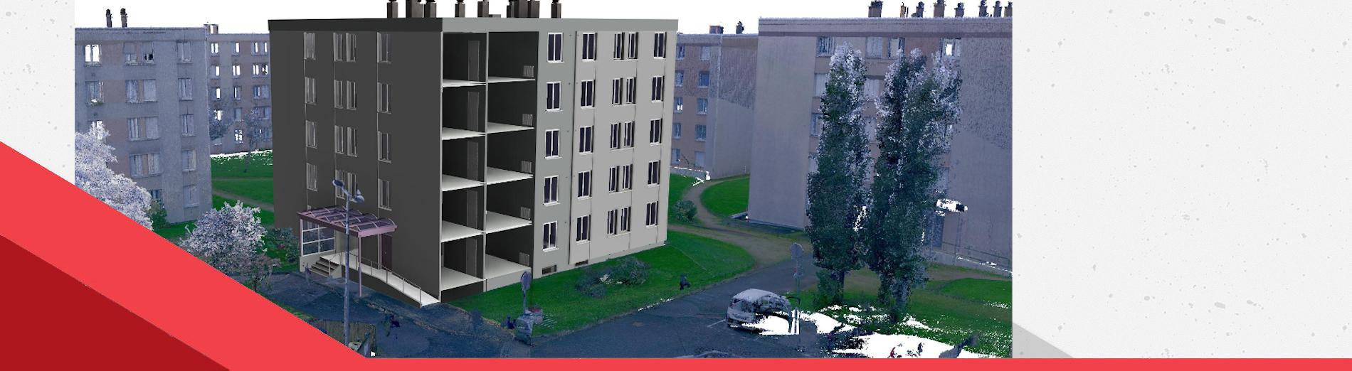 Relevé 3D et construction de la maquette numérique de logements sociaux