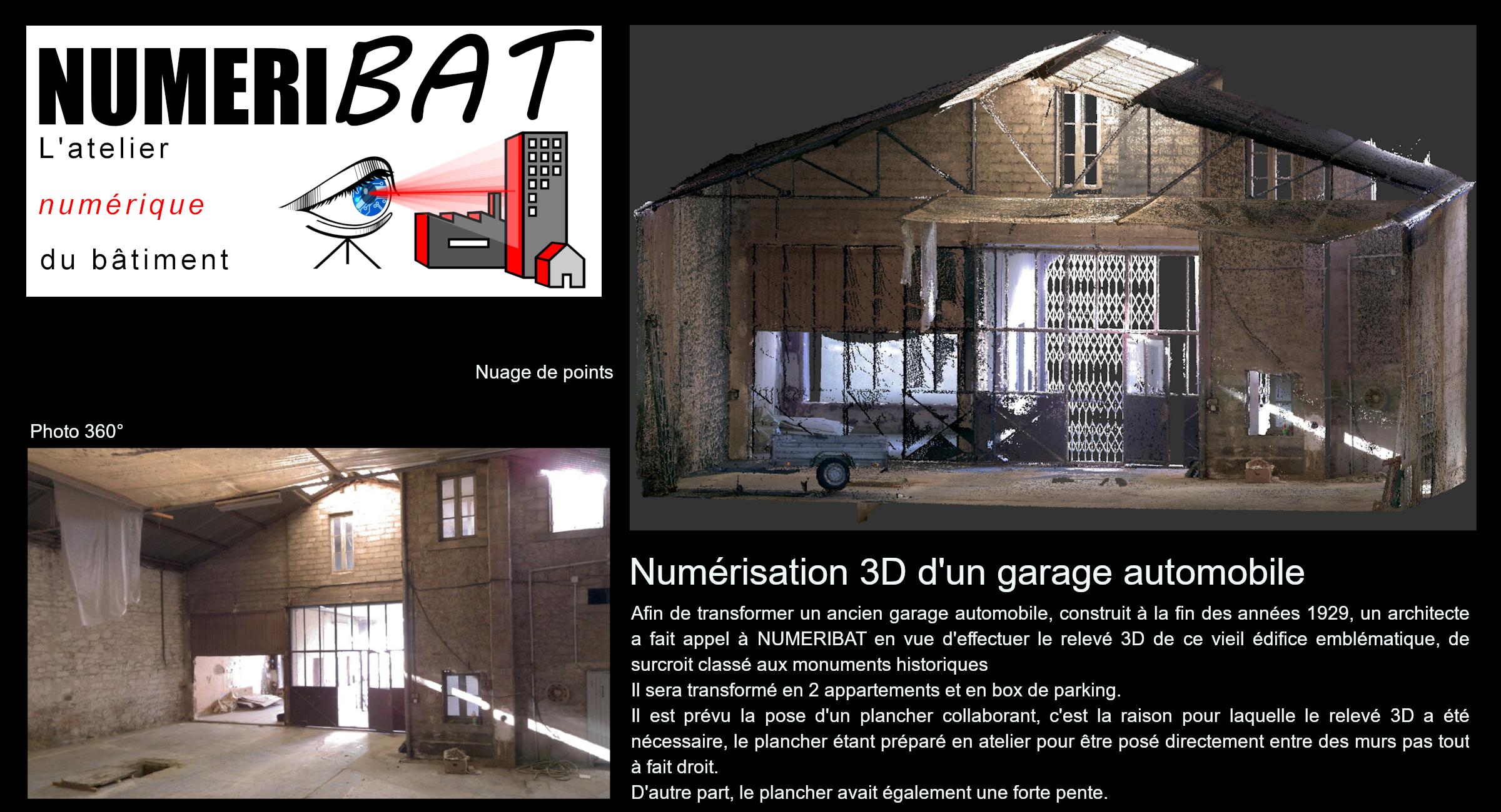 Numérisation 3D d'un garage classé aux monuments historiques en vue de sa transformation