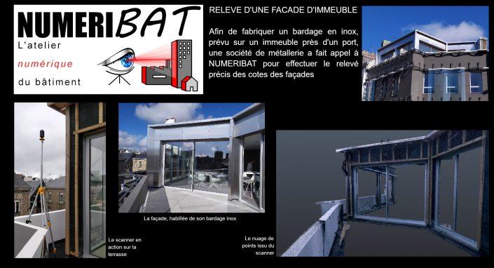 Relevé scanner 3D f'une façade en vue de la fabrication d'un bardage