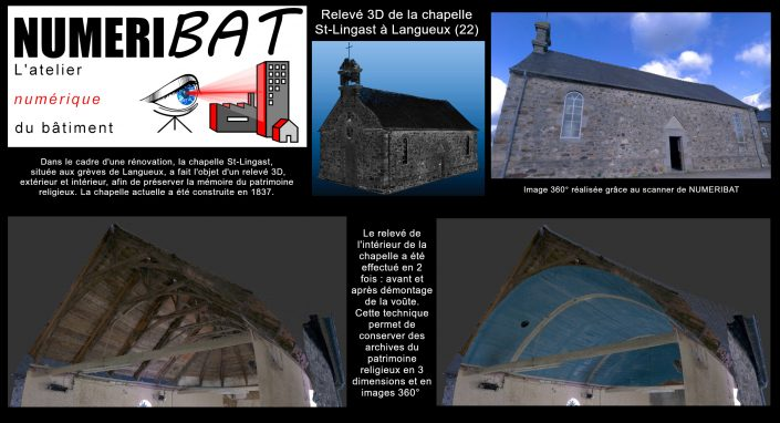 Relevé 3D par scanner 3D en vue de la conservation du patrimoine. Prises de notes et de cotes sur le nuage de points issus du scan de la chapelle St-Lingast à Langueux (22)