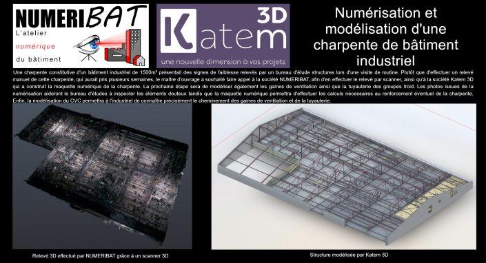 numerisation et modélisation d'une charpente de bâtiment industriel